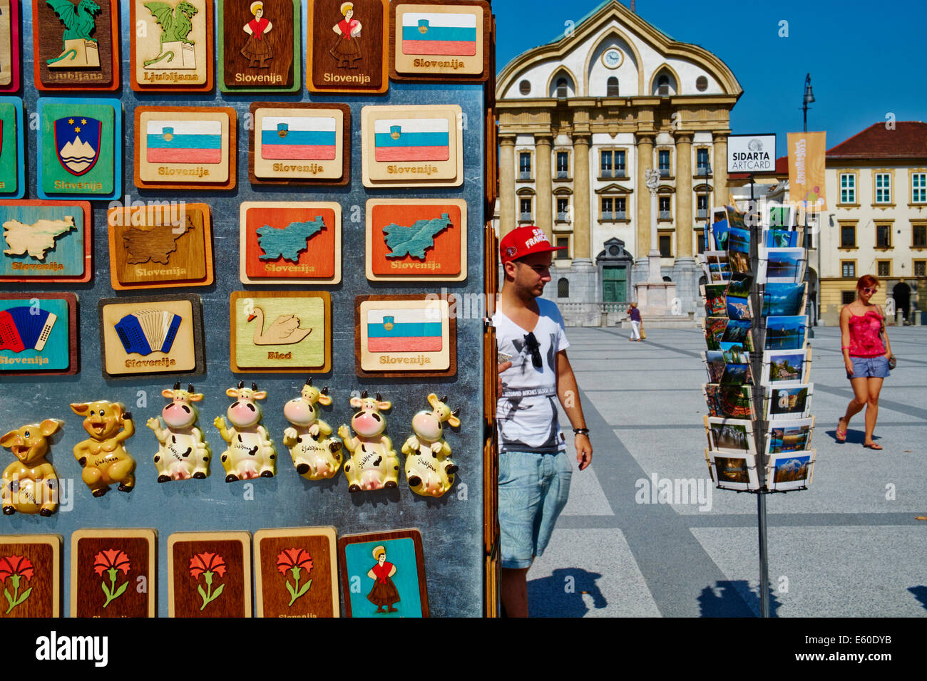 Slovenia, Ljubljana, Kongresni Square, Ursuline Church of the Holy Trinity, souvenir shop - Stock Image