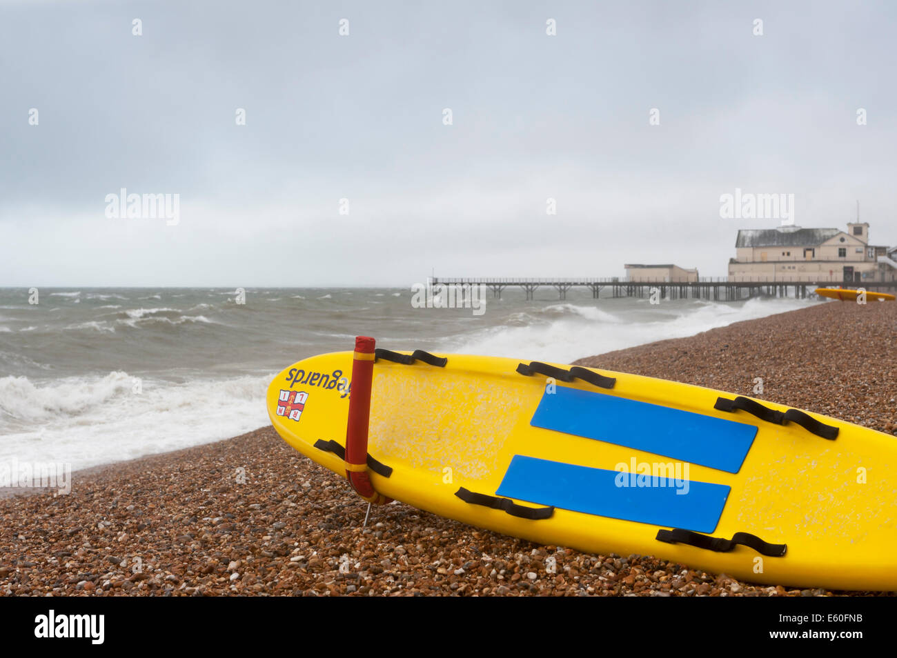 Bognor Regis, West Sussex, UK, 10th August 2014. As the remnants of hurricane Bertha arrives on  the south coast, - Stock Image
