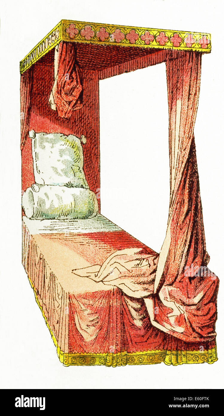 Pictured in this 1882 illustration is a canopy bed dating to the Medieval Period in Europe - around 1400. - Stock Image
