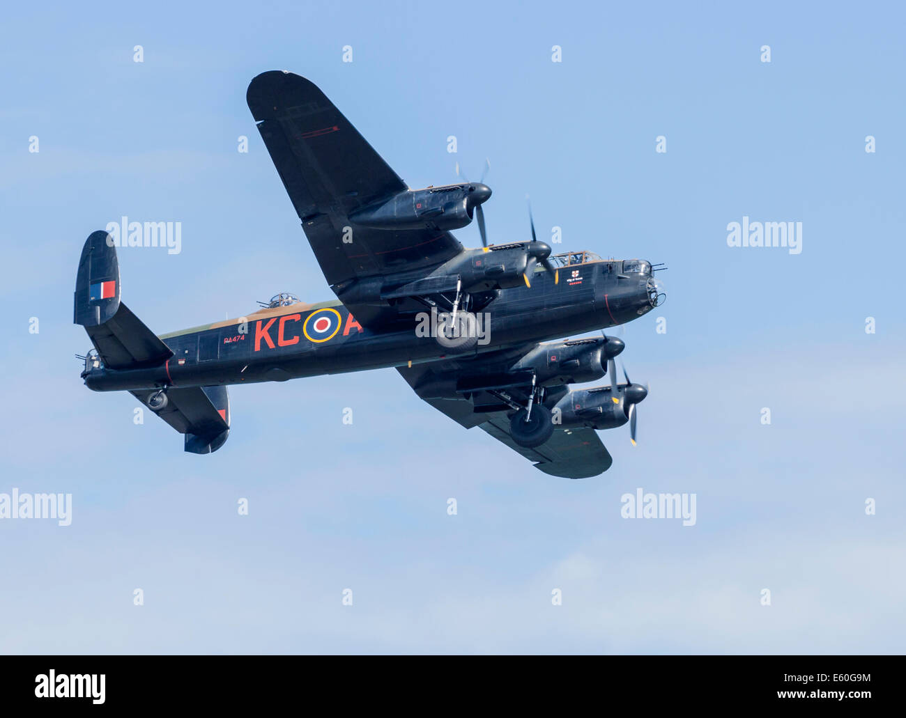 Newcastle, Co. Down, Northern Ireland, UK. 9th August 2014. Festival of Flight. Lancaster Bomber with undercarriage - Stock Image