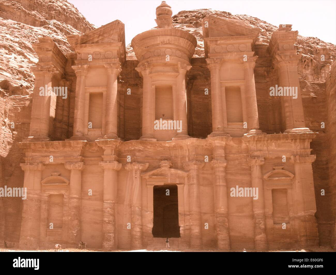 El Deir, The Monastery, at Petra, one of the new seven wonders of the world, in the deserts of Jordan - Stock Image
