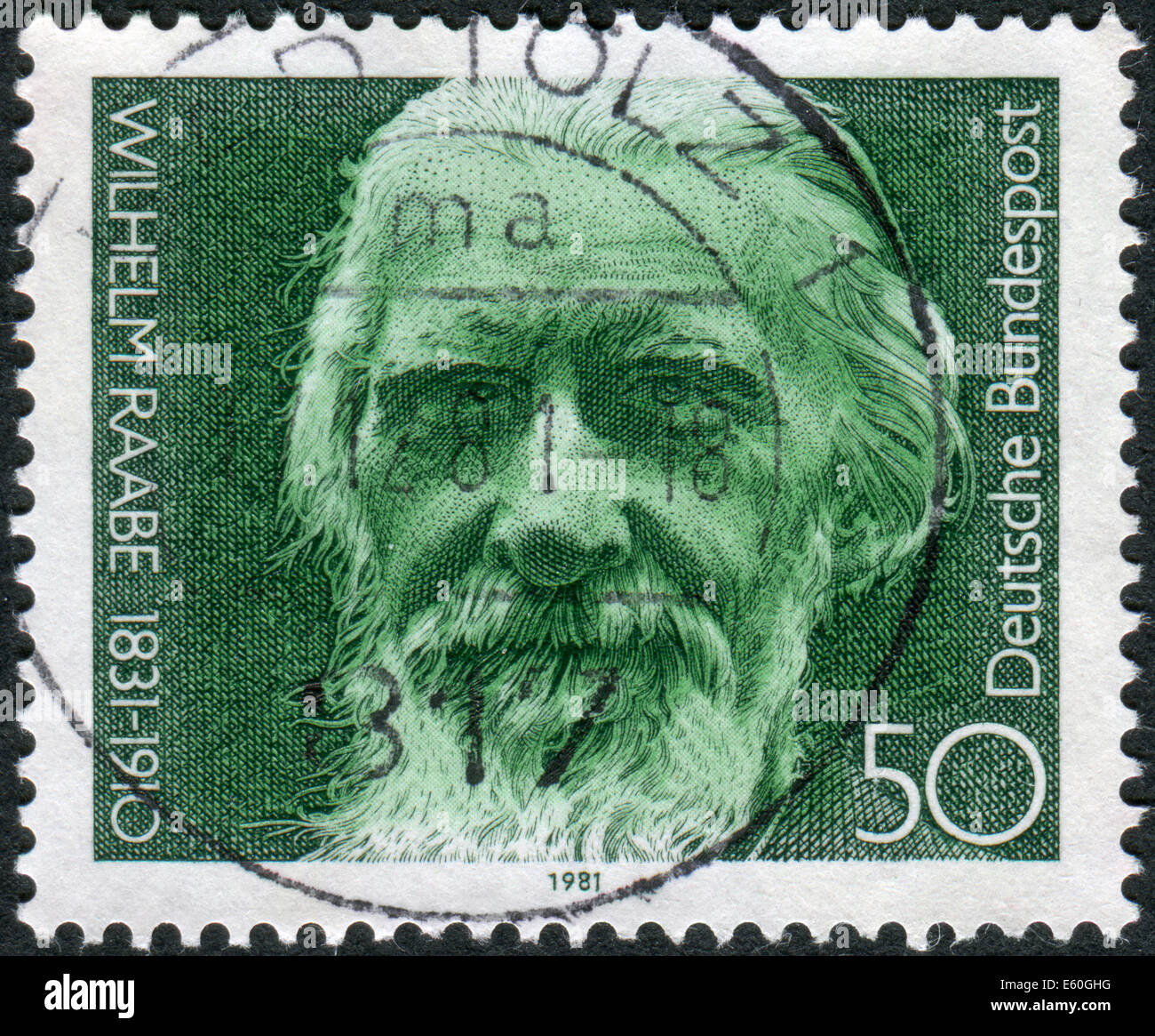 Postage stamp printed in Germany, shows the poet Wilhelm Raabe, circa 1981 Stock Photo