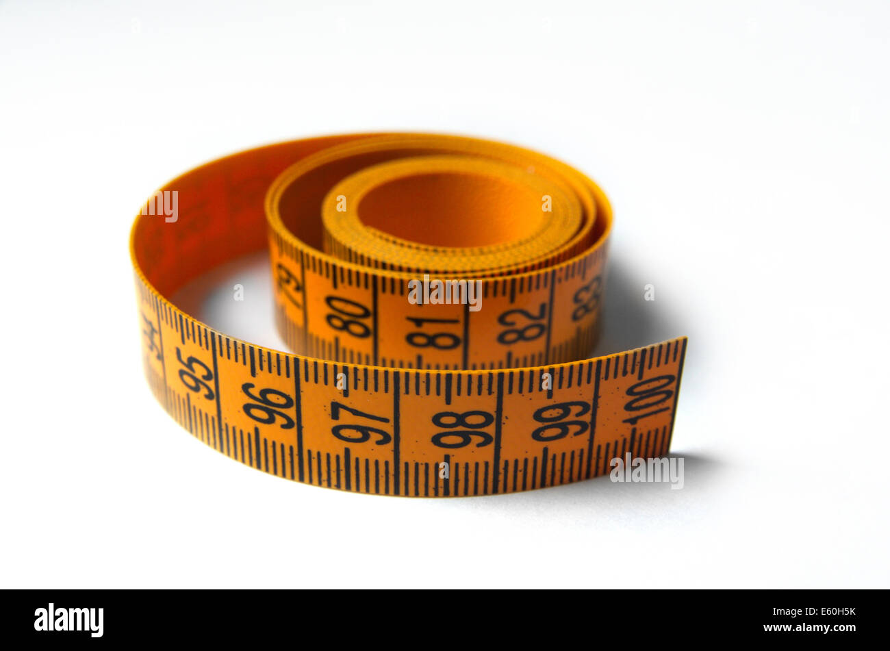 Orange Tailors Tape Isolated On The White Background - Stock Image