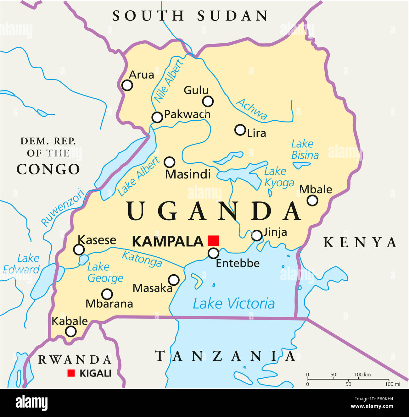 Kampala Uganda Map Uganda Political Map Stock Photo: 72544784   Alamy