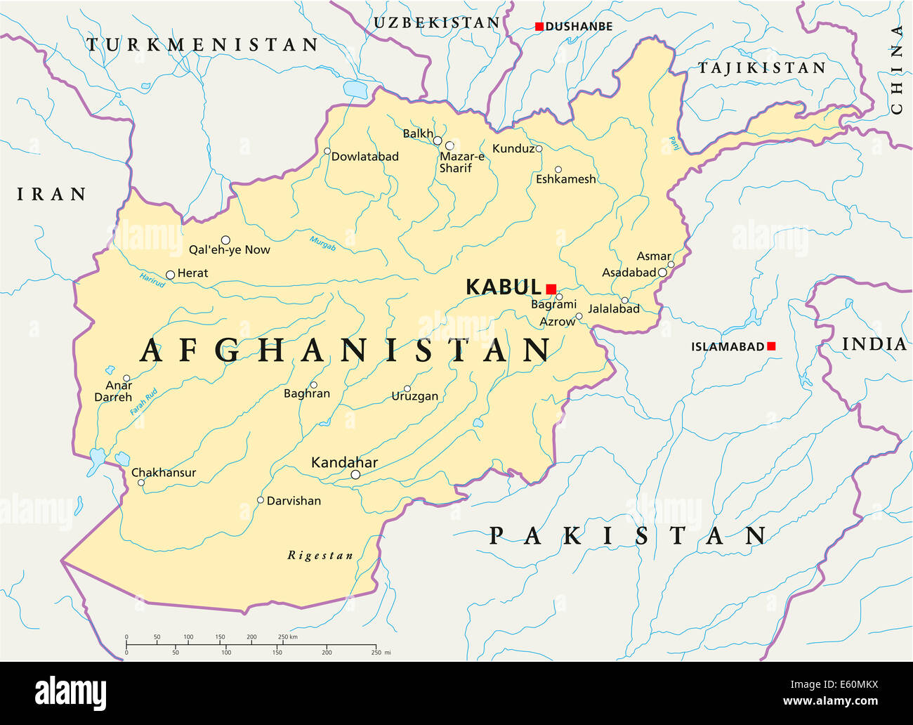 Afghanistan Political Map - Stock Image