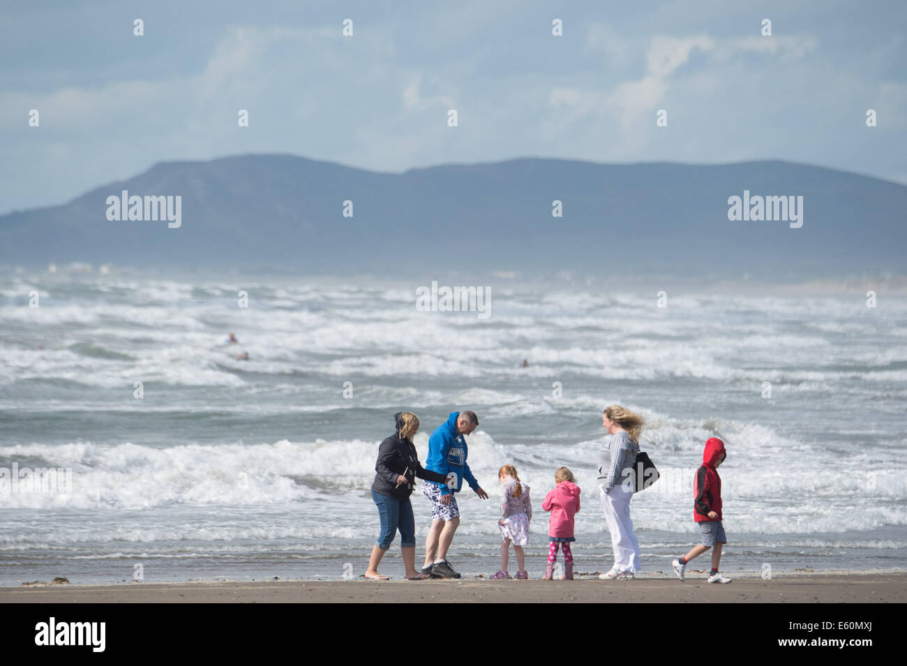 Borth, Ceredigion, Wales, UK. 10th August, 2014.High winds on the coast as the tail end of Hurricane Bertha passes. - Stock Image