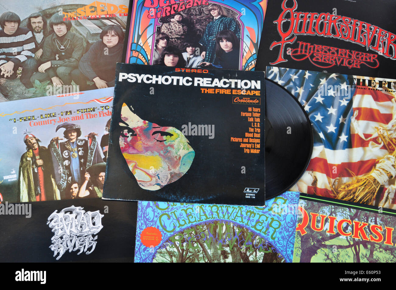 Psychedelic Rock And Garage Punk Music From The 1960s Vintage Vinyl Records Cover Art