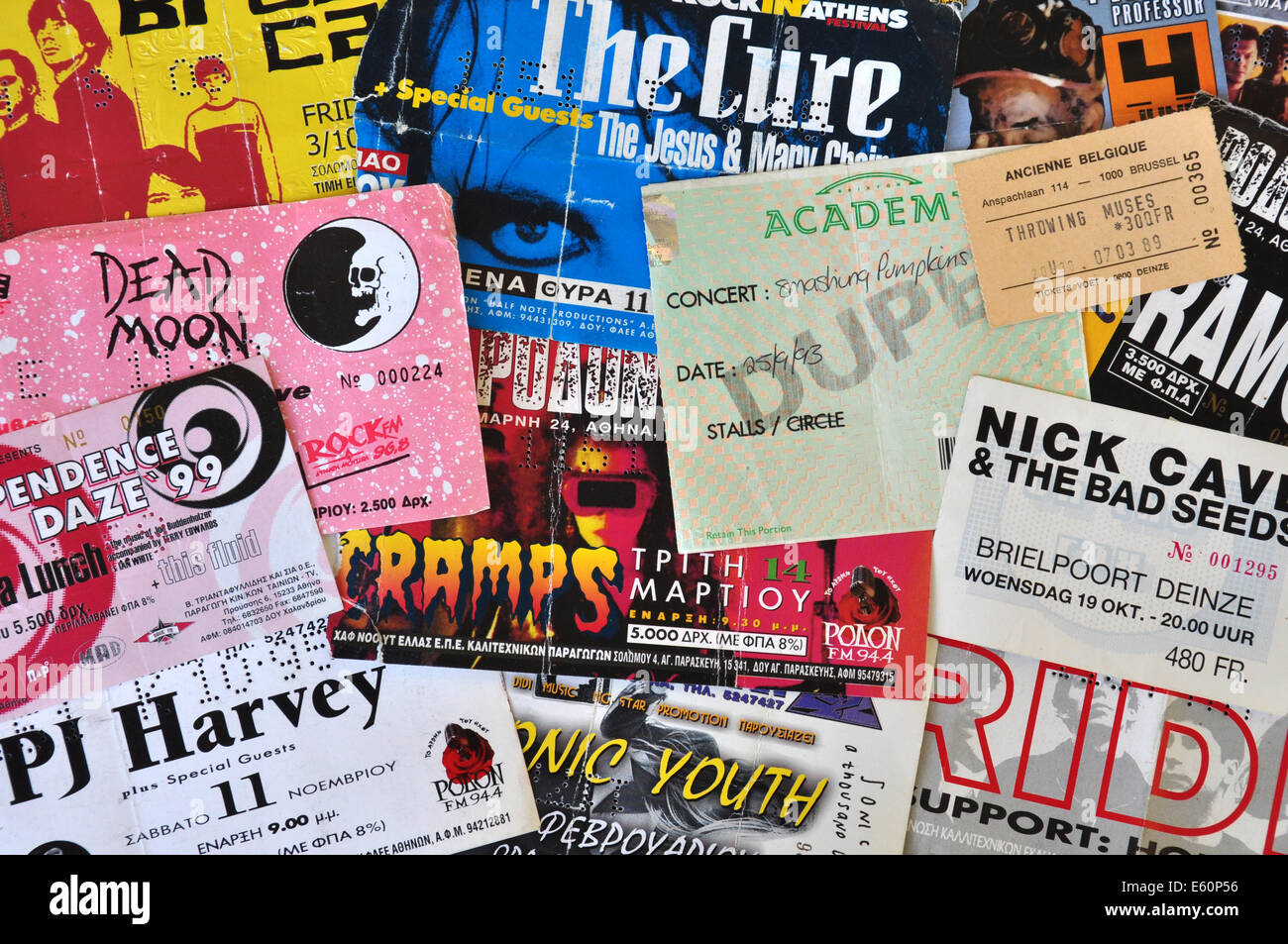 Vintage live concert ticket stubs alternative indie and punk rock music memorabilia from the 1980s and 1990s. - Stock Image