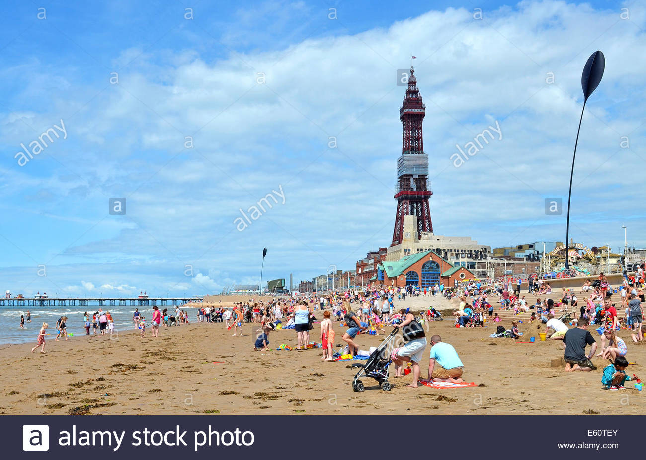 families on the beach at blackpool, england, uk - Stock Image