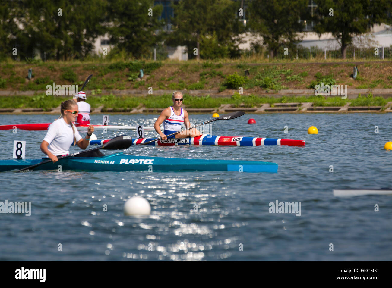 Moscow, Russia. 10th Aug, 2014. Day five of 2014 ICF Canoe Sprint World Championships on Rowing canal in Krylatsky, - Stock Image