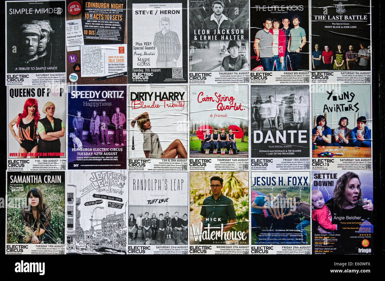 Posters advertising upcoming shows at the Electric Circus in Market Street, Edinburgh. - Stock Image