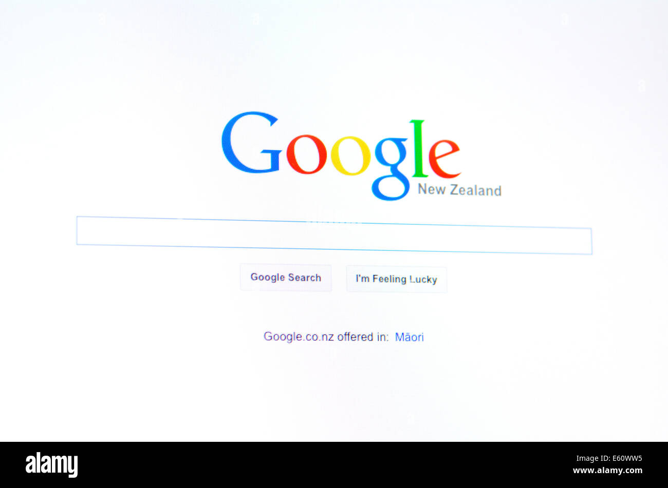 AUCKLAND - AUG 10 2014:Google New Zealand homepage.As of September 2013, Google operates 70 offices in more than - Stock Image