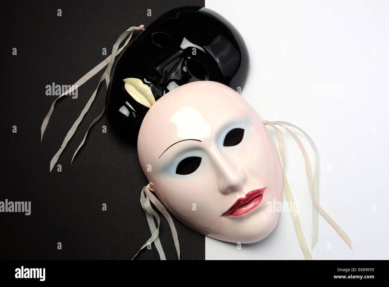 Black and white theme ceramic masks for acting, performance or theater concept. - Stock Image