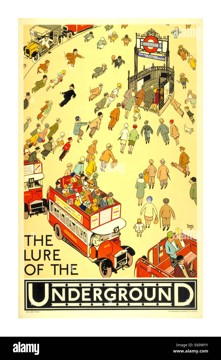 Vintage poster circa 1930's for The London Underground illustrating 'The Lure of The Underground' - Stock Image