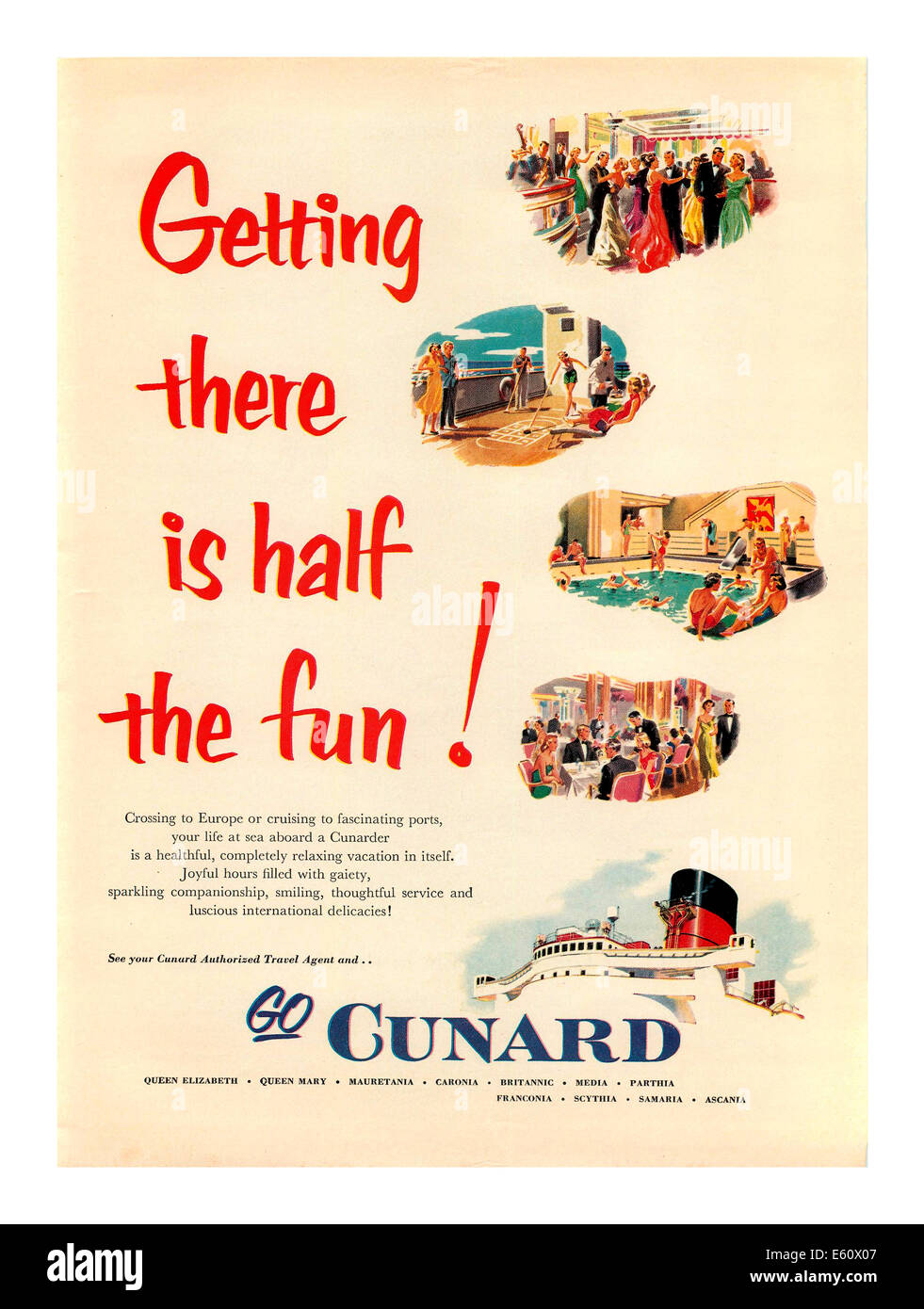 1950's vintage cruise ship Cunard line poster ' Getting there is half the fun' - Stock Image