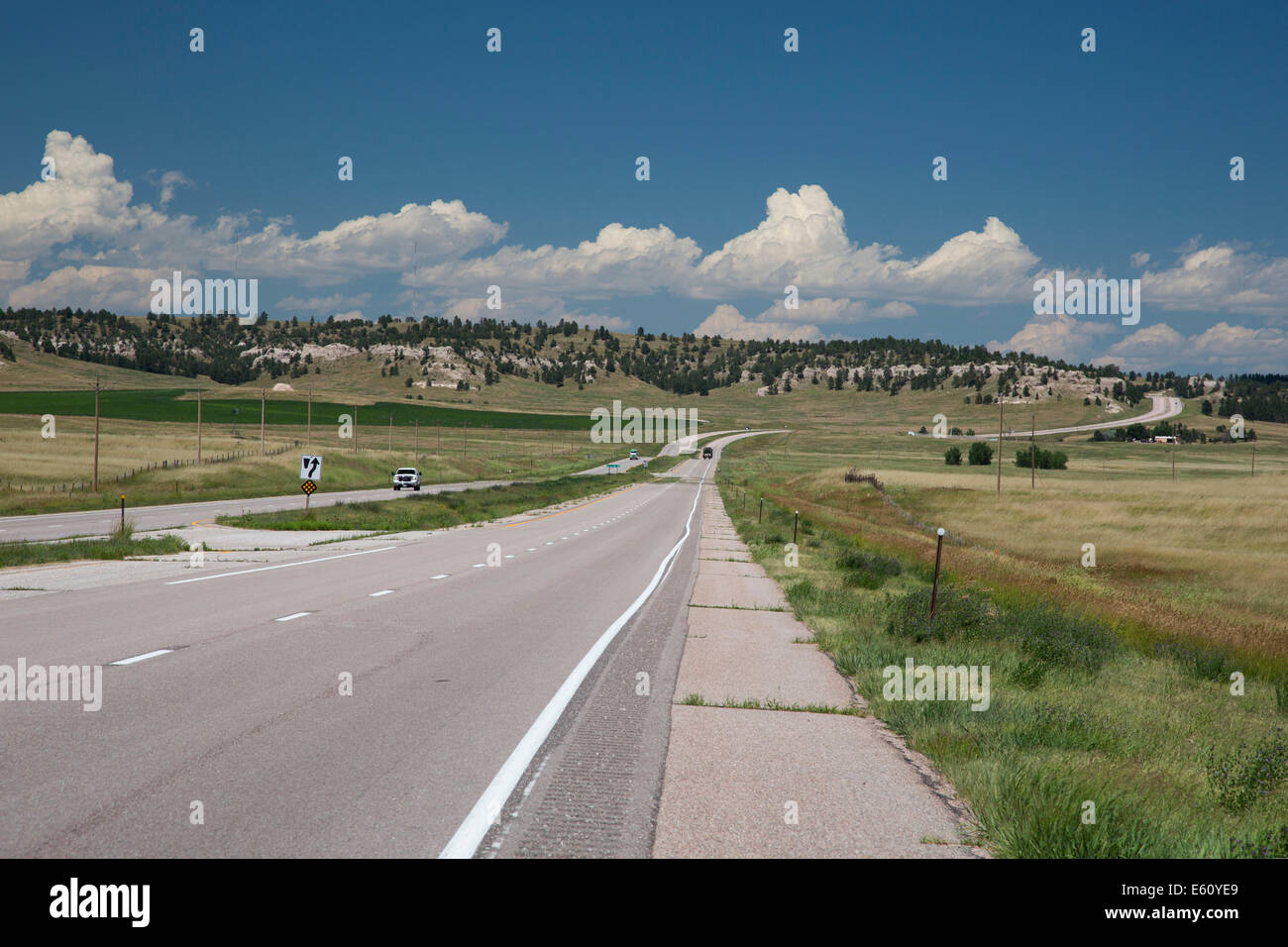 Harrisburg, Nebraska - Highway 71 in western Nebraska. Stock Photo