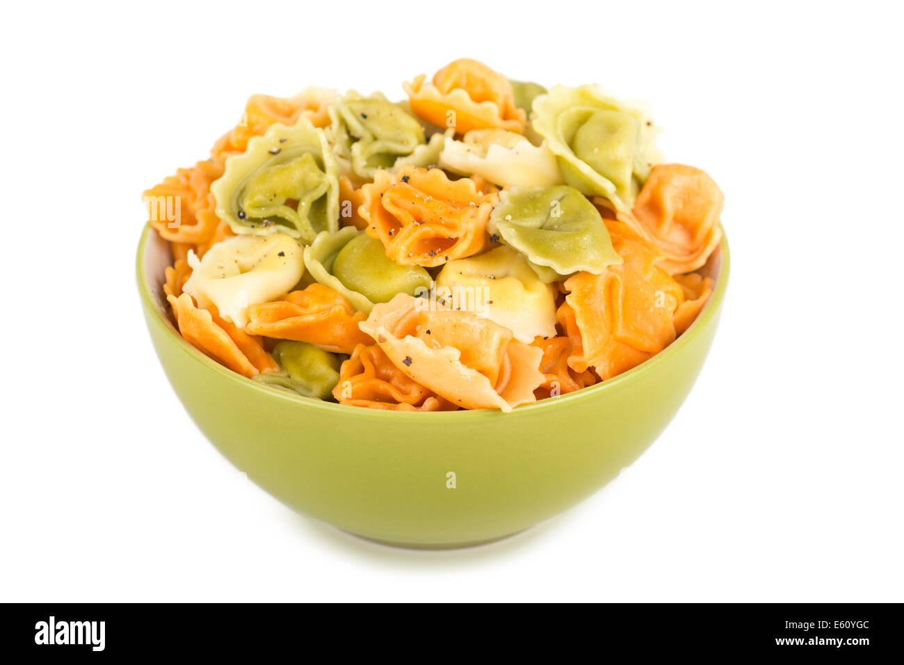 Bowl of Tortellini, Tortellini, Tricolor, Tricolore Pasta - Stock Image