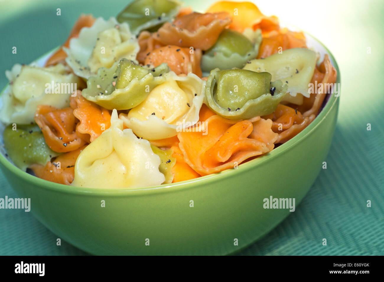 Tortellini, Tricolor, Tricolore Pasta - Stock Image