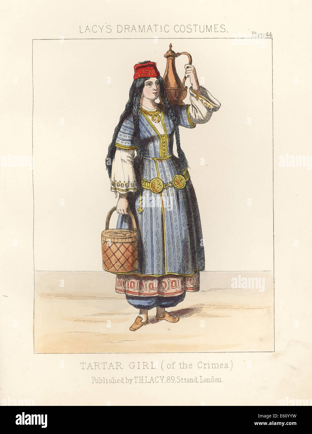 Tartar (Tatar) girl of the Crimea with water jug and basket, 19th century. - Stock Image