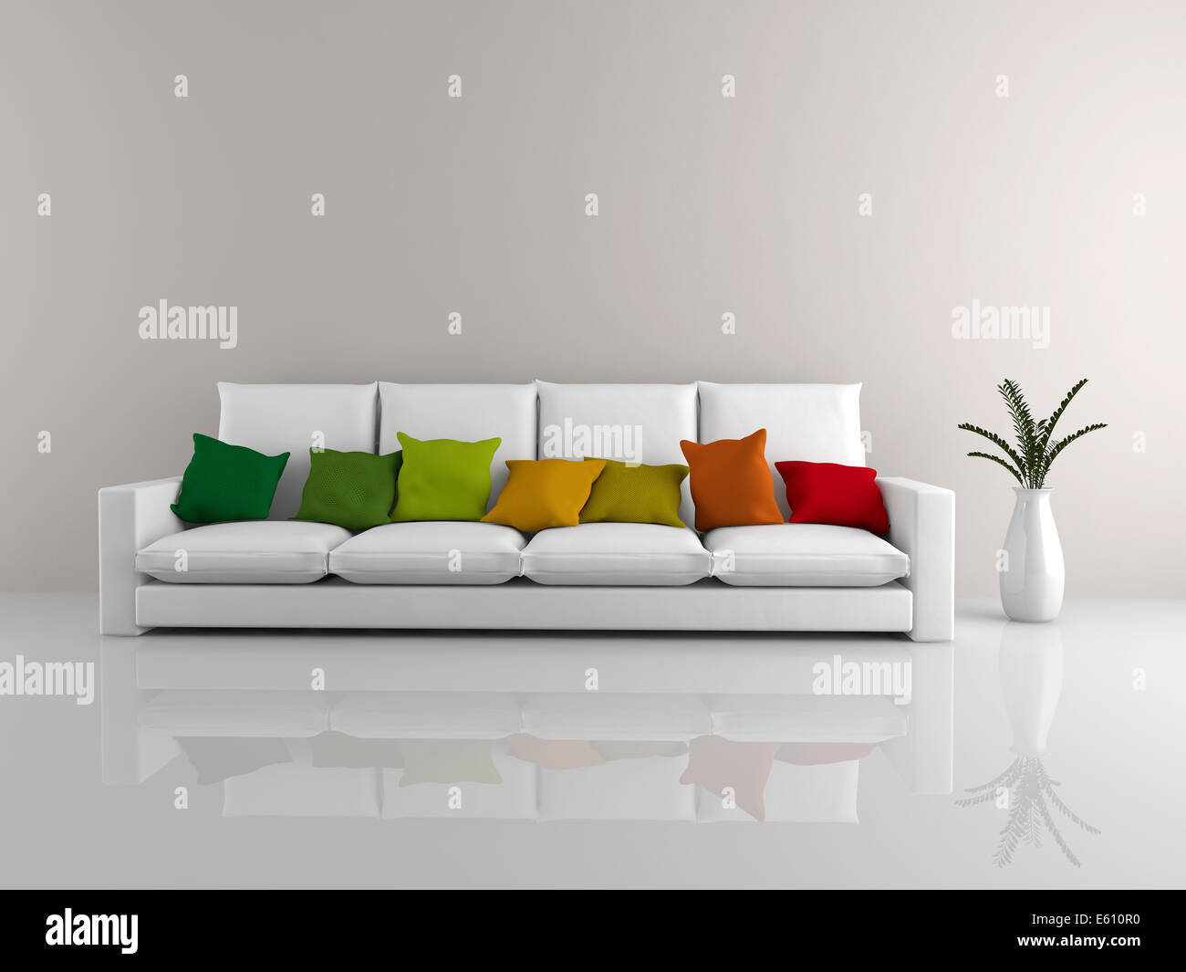 Brilliant A Room With A Minimalist White Sofa Covered In Colorful Uwap Interior Chair Design Uwaporg