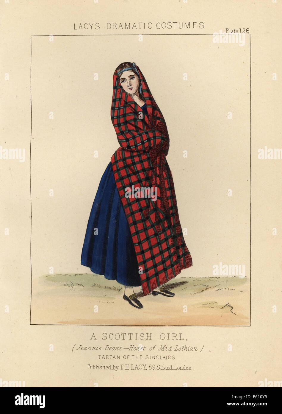 Scottish girl wearing the Sinclair tartan, 19th century. - Stock Image