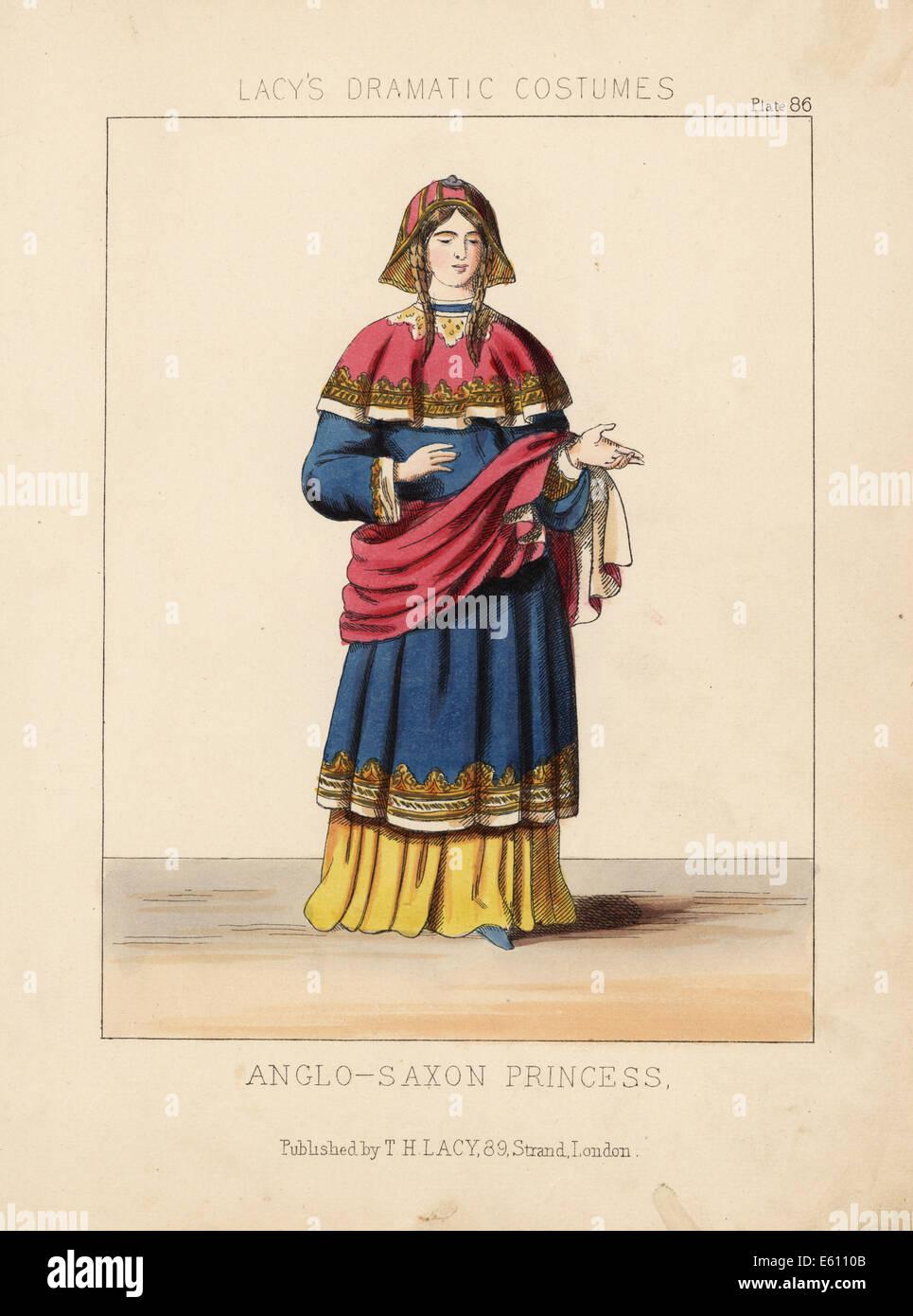 Costume of an Anglo-Saxon princess. - Stock Image