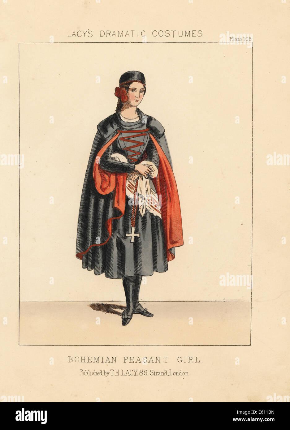 Bohemian peasant girl, 19th century. - Stock Image