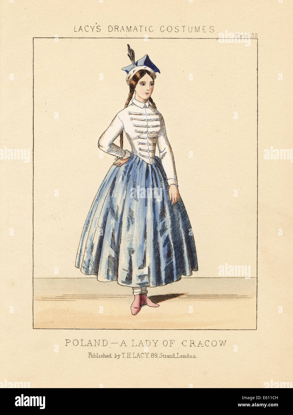 Costume of a lady of Cracow, Poland, 19th century. - Stock Image