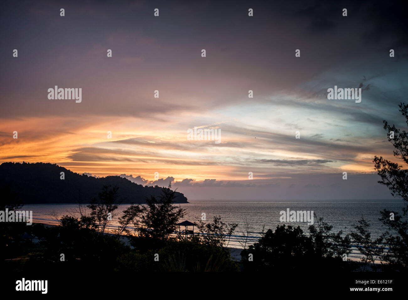 Sunset at Kota Kinabalu on 03 August 2014 in Kota Kinabalu, Malaysia. - Stock Image