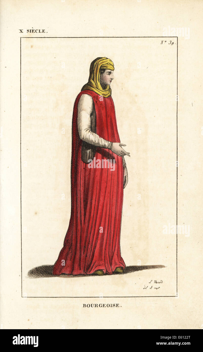 Bourgeoise woman, 10th century. - Stock Image