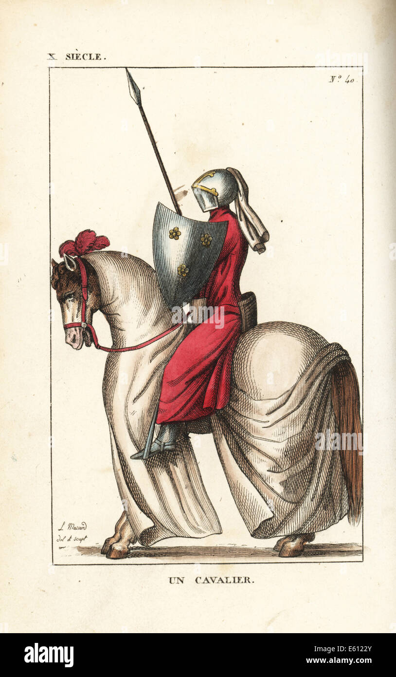 French cavalry knight in armour, 10th to 12th century. - Stock Image