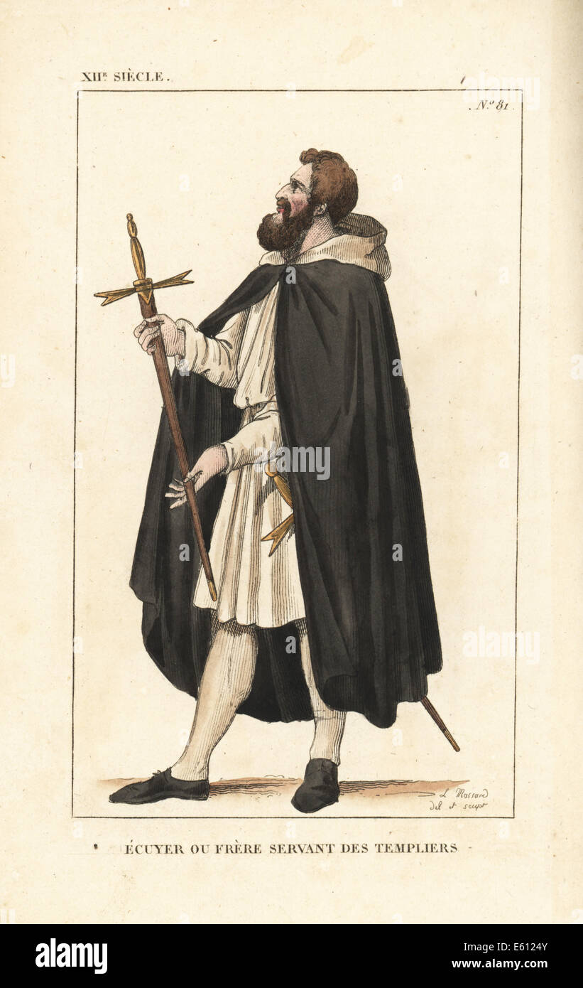 Knight Templar squire or servant brother, 12th century. - Stock Image