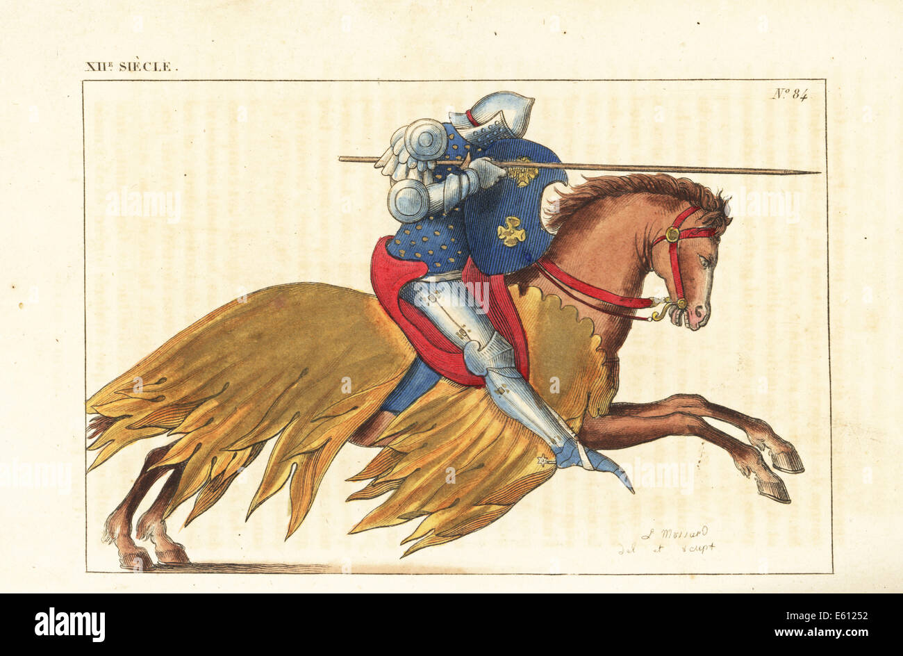 French cavalry charging with lance, 12th century. - Stock Image