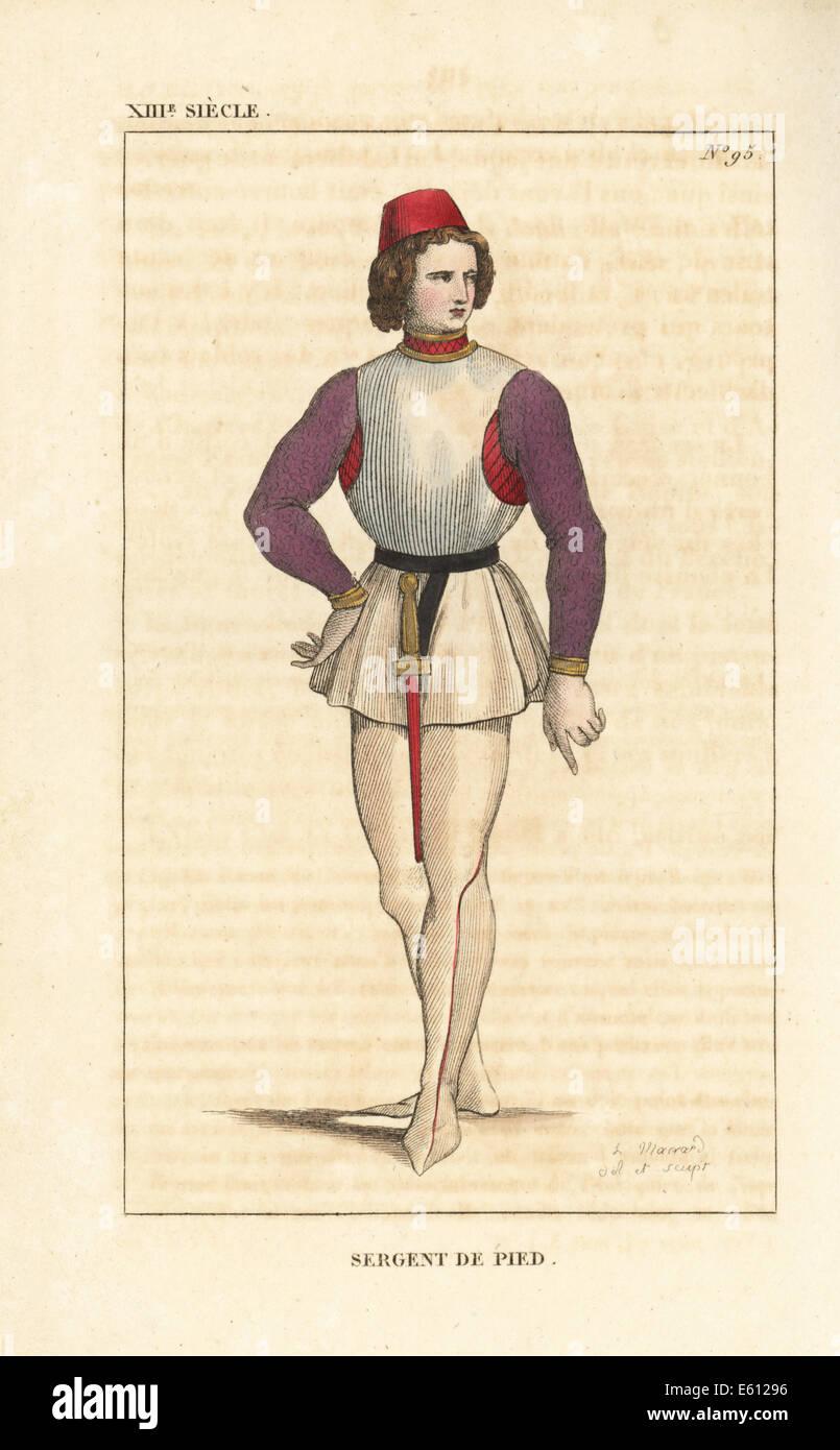 Infantry sergeant, 13th century. - Stock Image