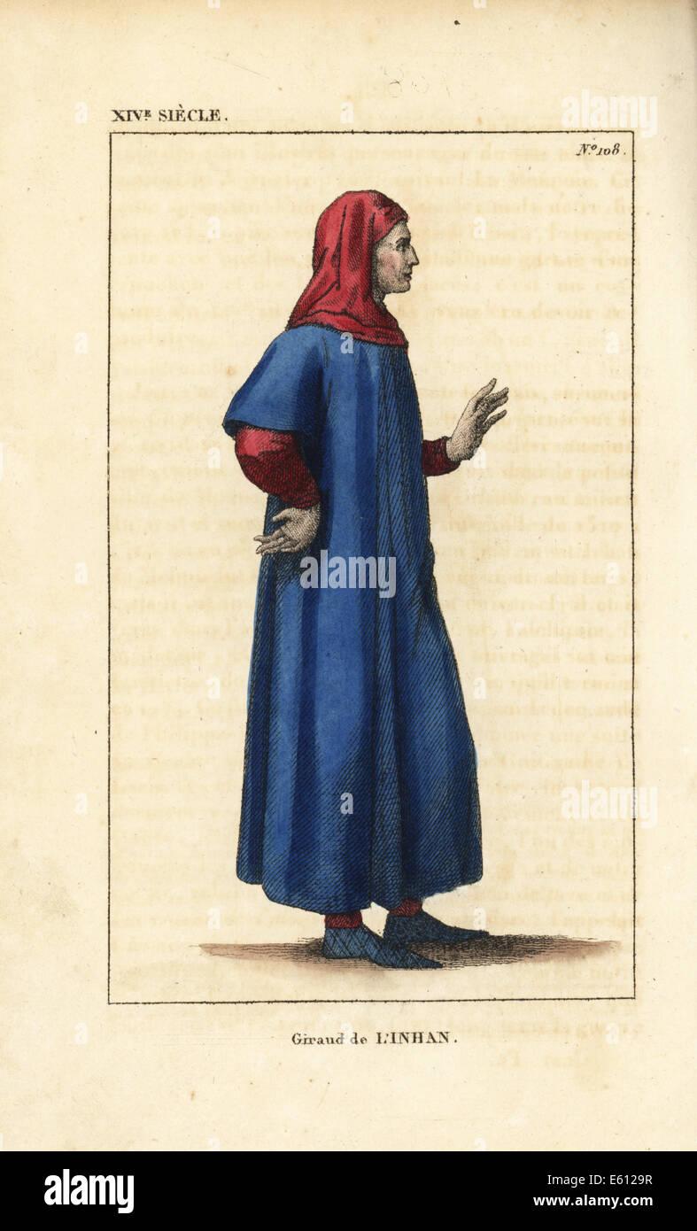 Giraud de l'Inhan or Dan Helinan, French poet, died 1223. - Stock Image