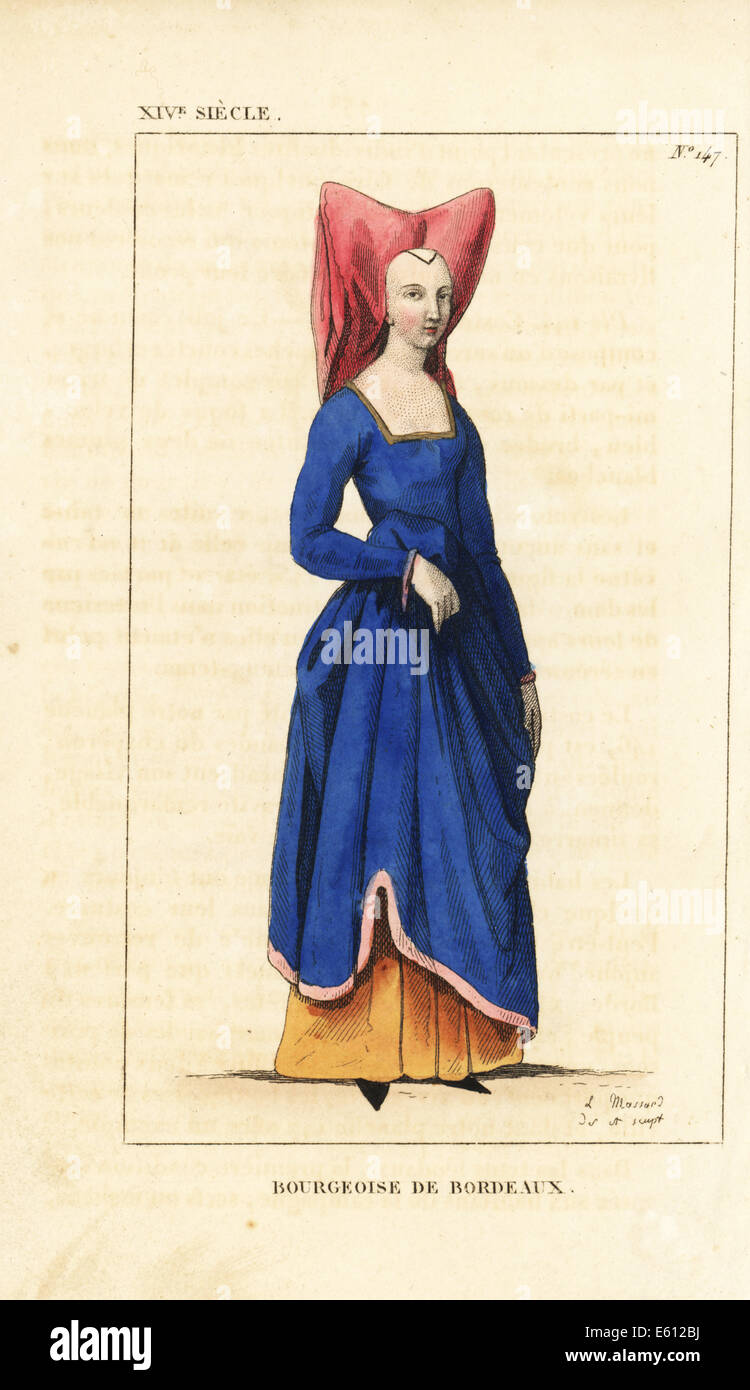 Bourgeois woman of Bordeaux, 14th century. - Stock Image