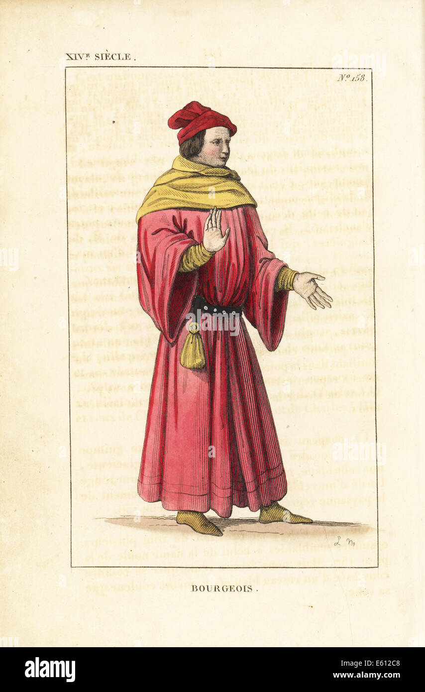 French bourgeois, 14th century. - Stock Image