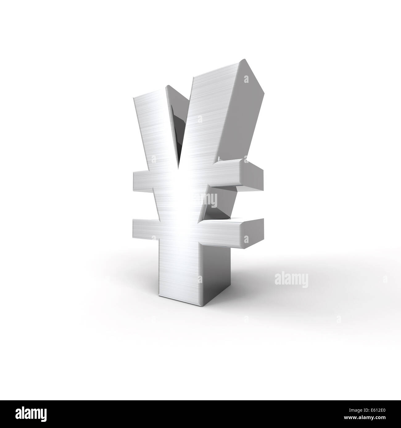 Silvered Yen Symbol with a white background - Stock Image