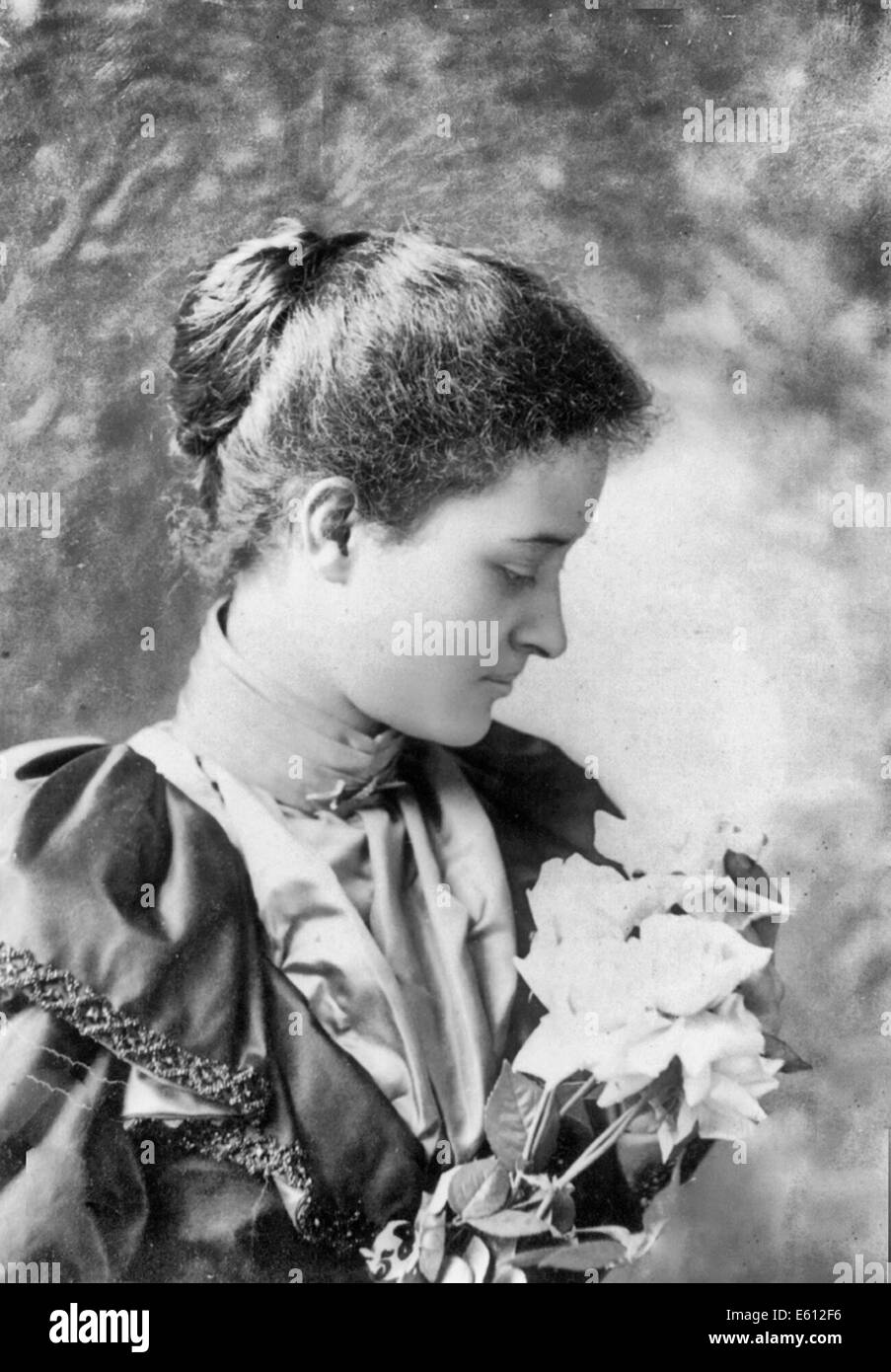 Princess of Hawaii Kaiulani - Head and shoulders, facing right; holding flowers, 1893 - Stock Image