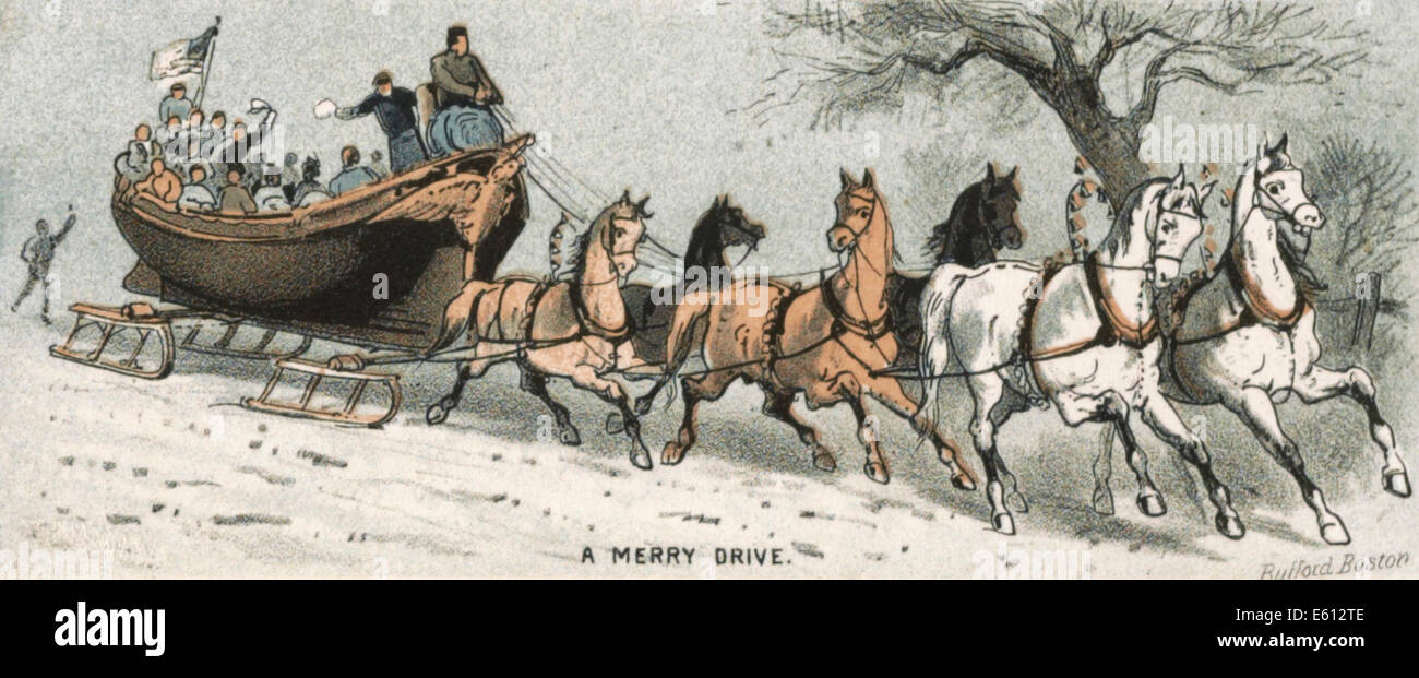 A Merry Drive - Out for a ride in the snow in olden times - Stock Image