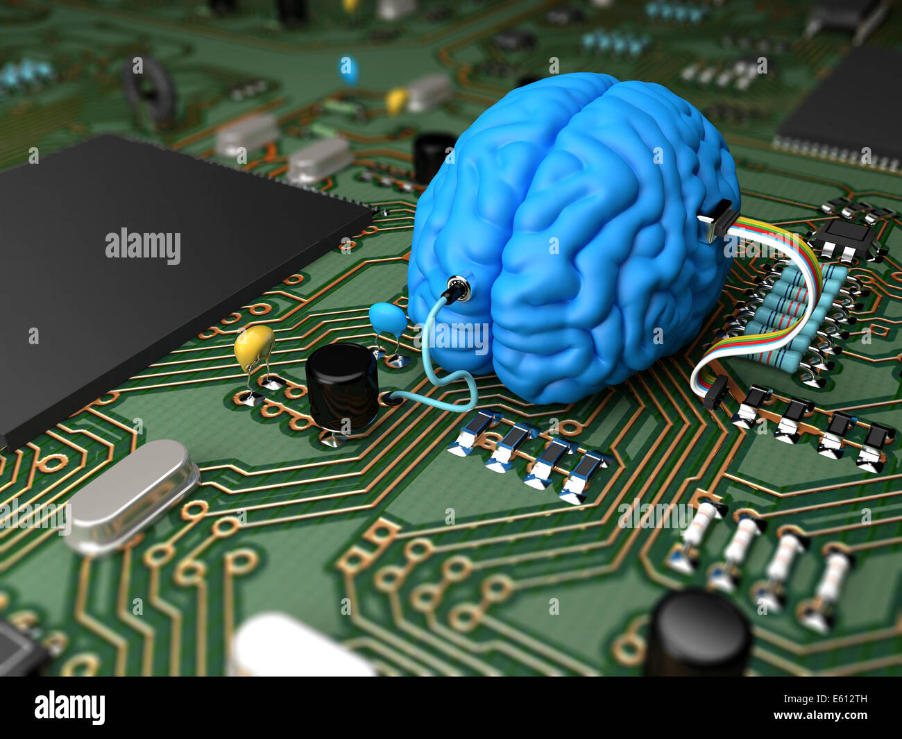 Electrical circuit with various components interfaced with a brain - Stock Image