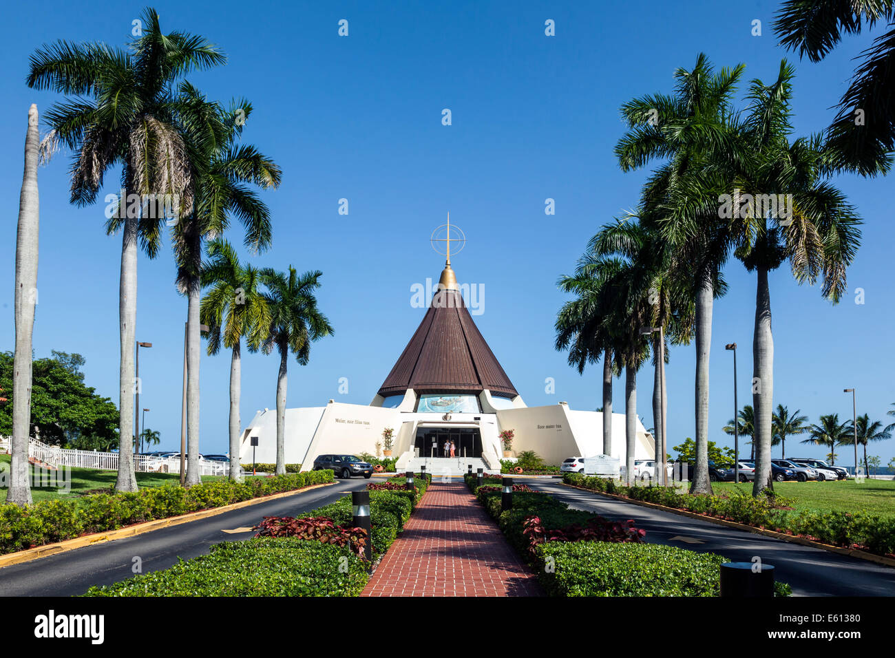 Exterior view of the Catholic Shrine Our Lady of Charity, Coral Gables, Florida in South Miami houses sacred religious Stock Photo