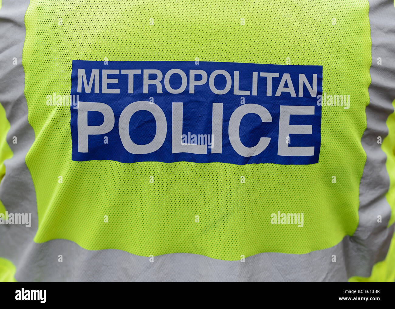 Metropolitan Police Officer, Rear View, Close Up. - Stock Image