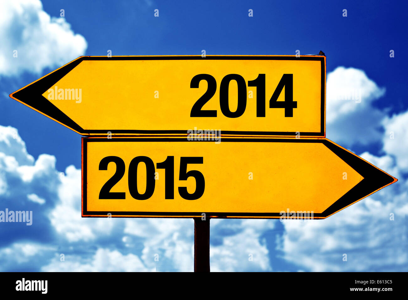 2014 or 2015, opposite road direction signs as New Year concept. - Stock Image