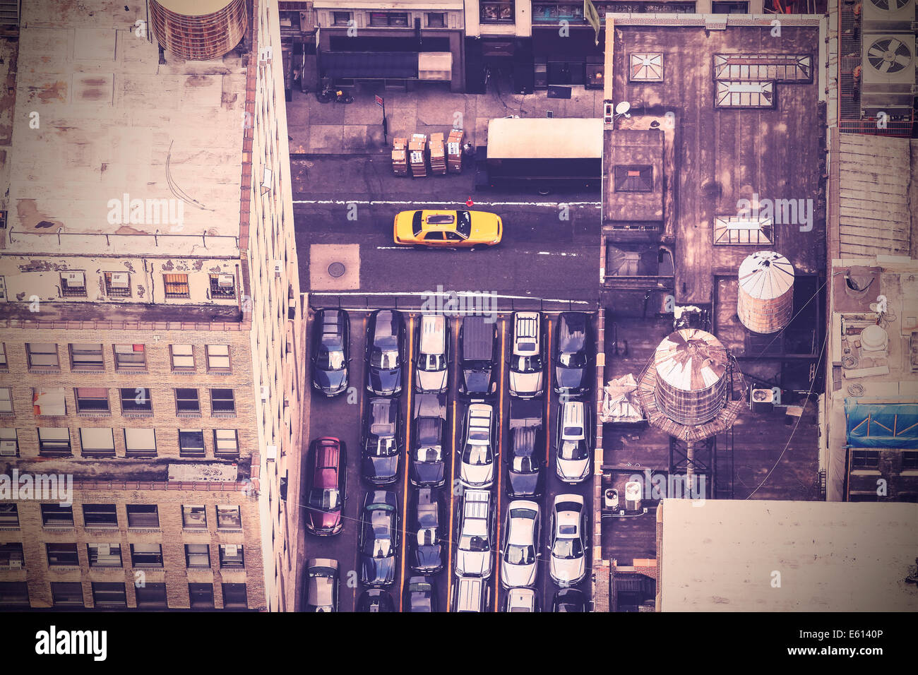 Vintage aerial picture of street in New York City, USA - Stock Image