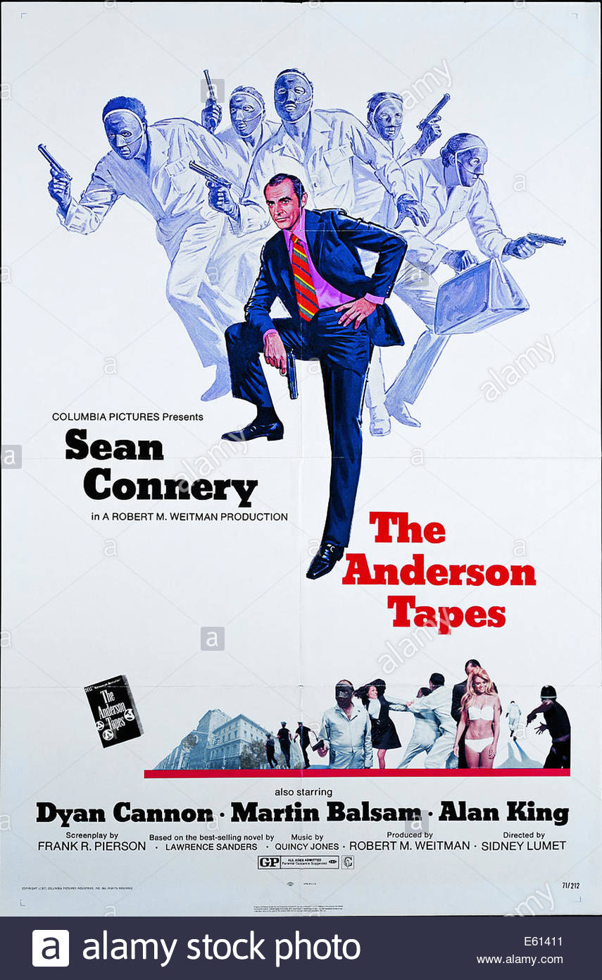 Poster for 'The Anderson Tapes' , 1971 American crime film directed by Sidney Lumet, starring Sean Connery - Stock Image