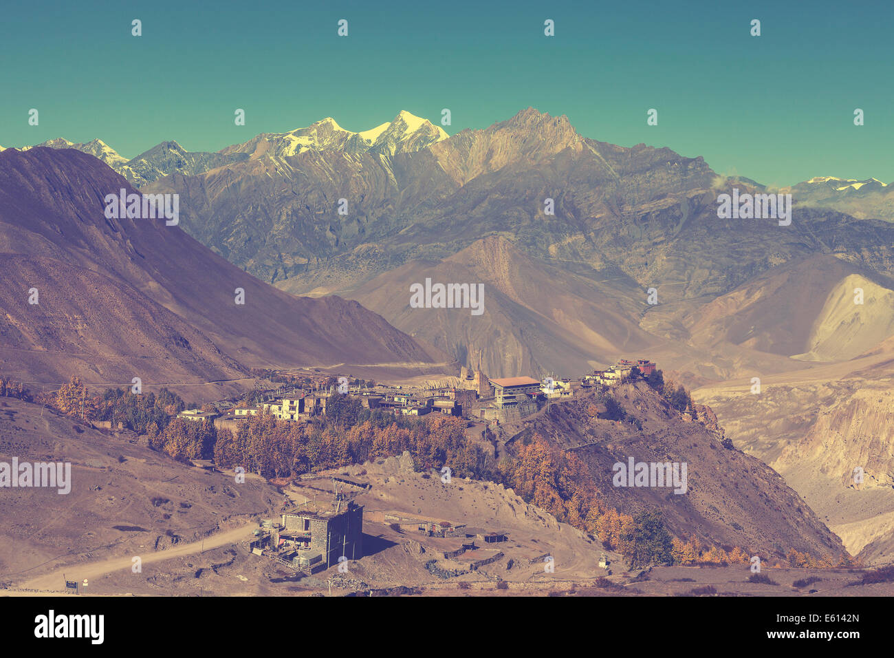 Beautiful vintage mountain landscape, Himalayas in Nepal. - Stock Image