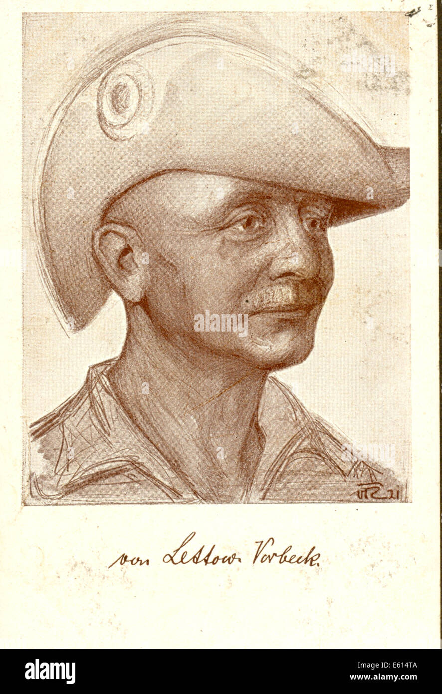 Postcard of General Paul von Lettow-Vorbeck (1870-1964) - Stock Image