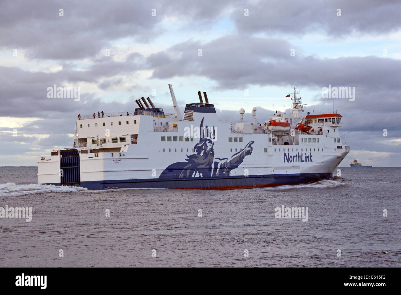 The Northlink ferry Hjaltland leaves Aberdeen Harbour in Scotland bound for Kirkwall on Orkney and Lerwick in Shetland - Stock Image