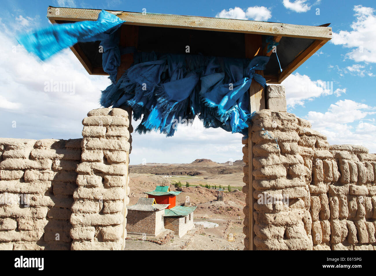 Ongi Khiid Monastery, door with prayer cloths, Ongi river valley, Central Desert, Dundgovi Province, Mongolia - Stock Image